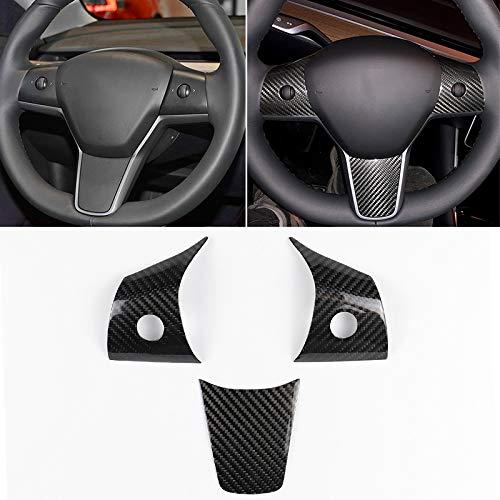 YJT Dirección Yay 3 PCS de Coches de Ruedas de Fibra de Carbono Laminado Decorativo for Tesla Model 3