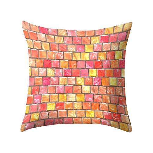 Xmiral Kissenhüllen Pillowcase Regenbogen Farbig 3D Psychedelisch Kopfkissenbezug 45cmx45cm(BN)