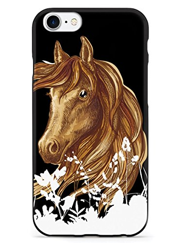 Inspired Cases - 3D Textured iPhone SE Case - Rubber Bumper Cover - Protective Phone Case for Apple iPhone SE - Watercolor Horse Illustration - Black