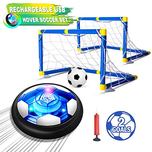 Kids Toys Hover Soccer Ball Set with 2 Goals, Air Soccer with LED Light, USB Rechargeable Floating Soccer Ball with Foam Bumper for Indoor Outdoor Sports Ball Game, Football Toy for Boy Girl Best Gift