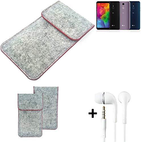 K-S-Trade® Handy Schutz Hülle Für LG Electronics Q7 Alfa Schutzhülle Handyhülle Filztasche Pouch Tasche Case Sleeve Filzhülle Hellgrau Roter Rand + Kopfhörer