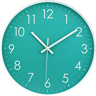 MOD CLOX Modern Wall Clock Non-Ticking Sweep Movement Battery Operated Clocks Decorative Living Room/Bedroom/Office/Kitchen 10 Inch Teal