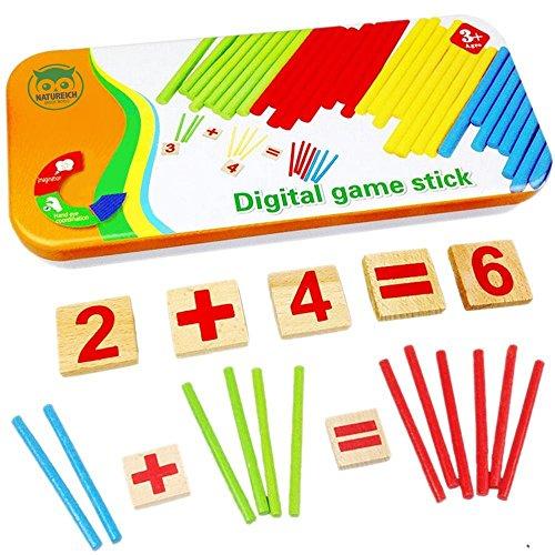 Natureich Montessori Mathe Spielzeug Holz Metallbox zum Aufbewahren Zahlen Lernen Rechenstäbchen Bunt ab 3 Jahre für frühe Motorik Entwicklung