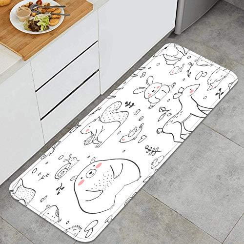TTLUCKY Juegos de alfombras de Cocina Multiusos,Vector Lineal bebé Lindo patrón Bosque,Alfombrillas cómodas para Uso en el Piso de Cocina súper absorbentes y Antideslizantes