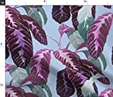 Spoonflower Stoff – Tropische Blätter lila rosa grün