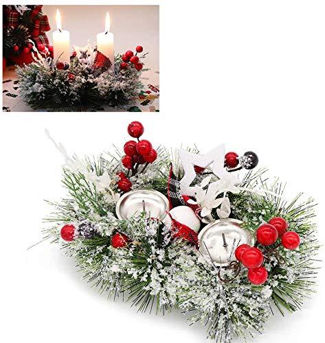 2 in 1 Portacandele natalizio, Glassato pino Anelli con candeliere Ornamenti decorativi glitterati di bacche rosse, Stand a lume di candela per la decorazione domestica della sala da pranzo di Natale