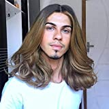 Baruisi Mens Wig Ombre Curly Long Brown Wig Synthetic Halloween Cospaly Costume Party Wigs for Male