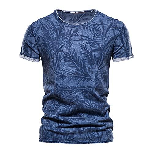 Camiseta De AlgodóN para Hombre, Camisa con Estampado De Cuello Redondo, Ropa Informal para Hombre, Camisetas De Verano Hombre