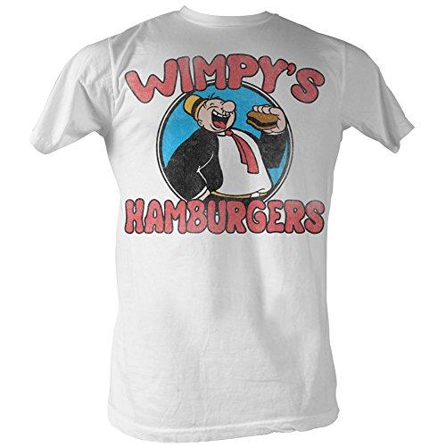 2Bhip Popeye wimpys hamburguesas camiseta para hombre Grande Blanco