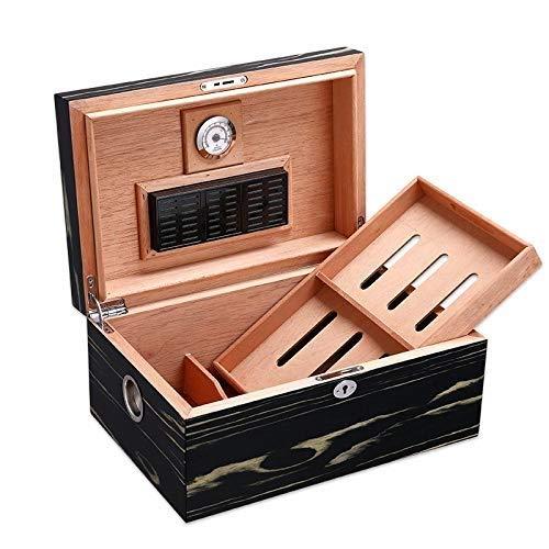 Zigarren Humidor Zigarrenluftbefeuchter Zigarrenschachtel, Große Kapazität Kann Bis Zu 100 Zigarren Aufnehmen mit Hygrometer und Luftbefeuchter Zigarrenschrank Kubanische Kiste Massivem Holz Zedernhol