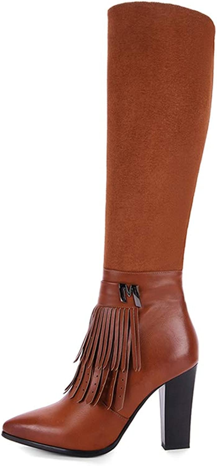 Fashion Women Boots Square Heel Winter Autumn High Heels Knee-high Boots Pointed Toe Elegant Style Ladies Boots