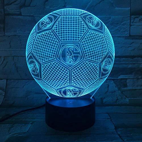 FC Schalke 04 Fußball 3D Lampe Raum Dekorativ Lampe Jungen Kinder Kit Deutsch Fußball FC LED Nachtlicht
