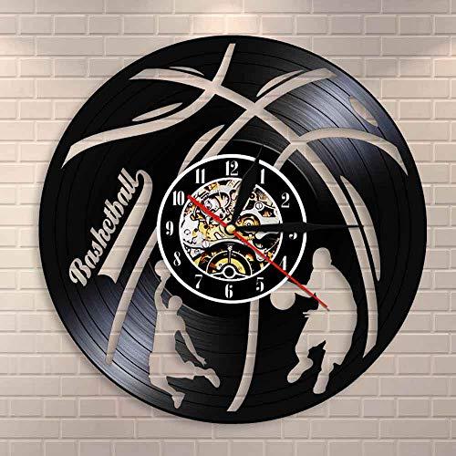 wtnhz LED-Baloncesto Hecho a Mano Colgante de Pared Art Deco Reloj Jugador de Baloncesto Disco de Vinilo Reloj de Pared Regalo para los fanáticos del Baloncesto