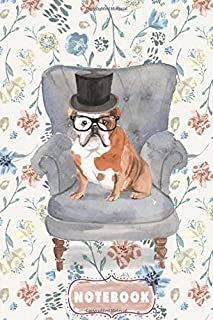 """English Bulldog Wear A Black Rimmed Glasses And Wear Top Hats, Sitting On The Blue Gray Chair - Pocket Notebook Size 6""""x9""""..."""