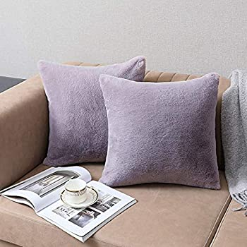 SISIZH Decorative Plush Faux Fur Throw Pillow Covers with Zipper Closure 16x16 Inch Luxury Velvety Soft Square Cushion Cases Pillowcase for Couch Set of 2 Light Purple