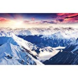 GREAT ART Mural De Pared ? Alpes Panorama ? Foto Mural Decoración Invierno Puesta De Sol Nieve Paisaje Naturaleza Montañas Glaciar Tapiz Cumbre del Paisaje De Invierno (210x140 Cm)