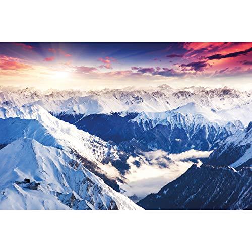GREAT ART XXL Poster – Alpen Panorama – Wandbild Dekoration Winter Sonnenuntergang Schnee Landschaft Natur Berge Gletscher Gebirge Gipfel Wandposter Fotoposter Wanddeko Bild (140 x 100 cm)