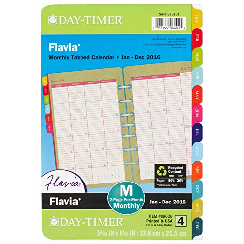 DayTimer Flavia Monthly Desk-Size Planner Refill 2016, 5.5 x 8.5 Inches Page Size (096261601)