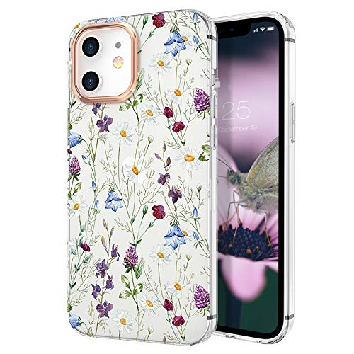 zelaxy Case Compatible with iPhone 12 Mini,Shockproof Protective Anti-Slip Slim Hard Shell Bumper Cute Floral Flower Case for iPhone 12 Mini 5.4 inch (Garden)