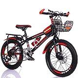 Niños Bicicleta De Montaña,Velocidad Variable Bicicleta con Guardabarros & Cesta Estudiantes De Bicicleta,Frenos De Doble Disco,Chicos Chicas Bicicleta,20''22'