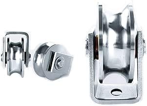 Chiloskit Sliding Gate 304 Stainless Steel 2 inch Roller Wheel Bearings U Groove Pulley Wheels for Swing/Sliding Sate with Wheel+Bracket,660 lbs Capacity (U)