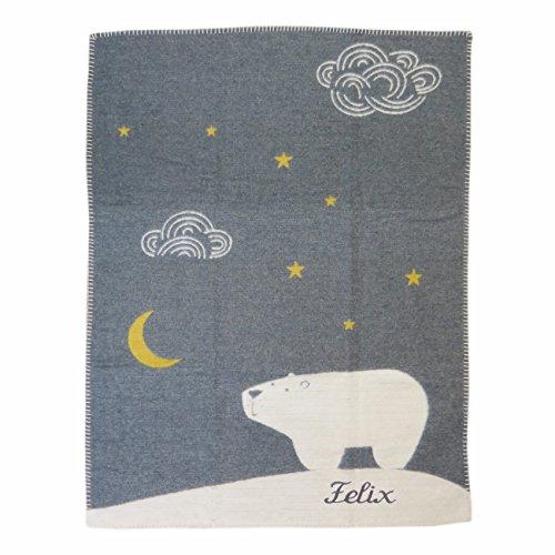 Fussenegger Babydecke mit Ihrem Wunsch Namen bestickt FINN Eisbär 65 cm x 90 cm grau Velours Relief Namensdecke