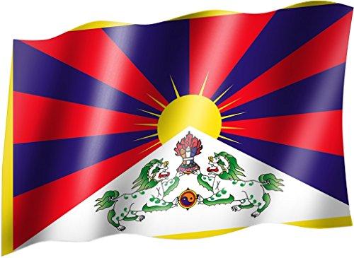 Sportfanshop24 Flagge/Fahne Tibet Staatsflagge/Landesflagge/Hissflagge mit Ösen 150x90 cm, sehr Gute Qualität
