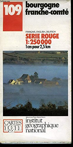 IGN, CARTE SERIE ROUGE 1:250000, n°109 BOURGOGNE FRANCHE COMTE