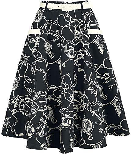 Hell Bunny Mistral 50's Skirt Mittellanger Rock schwarz S