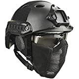 Bulawlly Paintball Airsoft Casco de protección, Cascos tácticos con la máscara de Malla de Acero CS Juego Set