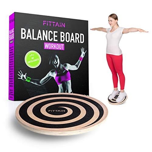 FITTAIN® Praktisches Balanceboard Set – Wackelbrett mit Unterlegmatte – Wackelbrett Holz – Gleichgewichtstraining – Poster mit Übungen (40 cm)