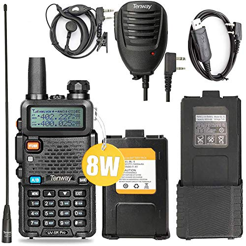 Ham Radio Walkie Talkie UV-5R Pro 8-Watt Dual Band Two Way Radio with one More 3800mAh Battery and Handheld Speaker Mic and NA-771 Antenna and USB Programming Cable