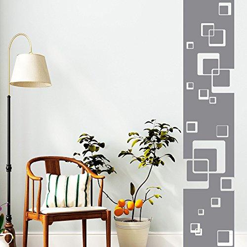 Wandtattoo-Loft Wandaufkleber Bordüre mit Quadraten - Wandsticker Motiv mit Rechtecken / 49 Farben / 4 Größen/grau / 120 cm lang x 24 cm breit