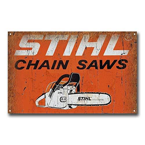 RABEAN Chain SAWS Póster de Pared Aluminio Metal Creativo Placa Decorativa Cartel de Chapa Placas Decoración Hogar Estar Oficina Café Bar