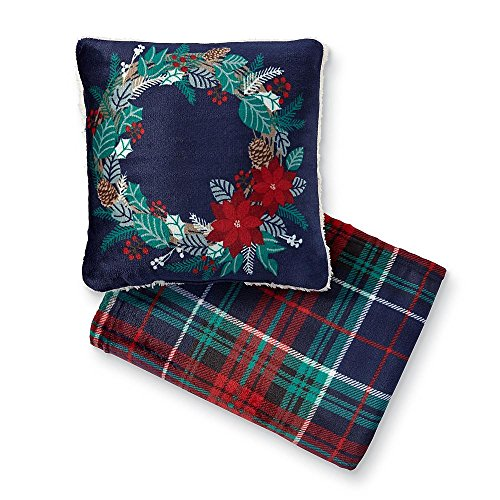 Christmas Wreath Pillow and Throw Blanket Set by Cannon - Christmas, Student Care Package, Hostess, Birthday Gift Home Décor