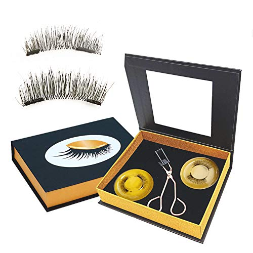 Dual Magnetic Eyelashes Without Eyeliner Reusable Magnetic lashes Kit NO Eyeliner or Glue Needed Ultra Thin Magnet,Light Weight Natural Looking False eyelashes With Tweezers (8 Pieces / 2 Pairs)