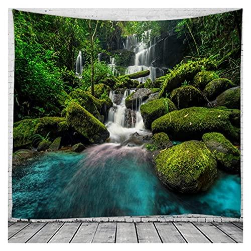 Chenhan Tapiz Espectacular Cascada Tapices de paisajes de Pared para el hogar Deco Sala de Estar Dormitorio de Gran tamaño Decoración de Arte (Color : Light Gray, tamaño : 230X150CM)