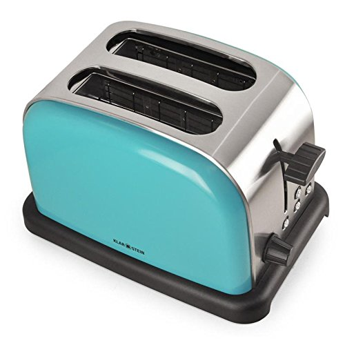 Klarstein BT-318 Toaster - Double Slot Toaster, for 2 Slices, Stainless Steel, Defrost Function, 6-Step Toasting Setting, Bagel Function, 2 Crumb Drawers, 1000 Watt, Operation LED, Turquoise