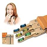 cepillo dientes bambu 6 pcs cepillo de bambu cepillos de dientes de bambu vegano, zero waste, biodegradable, sostenibles,100% libre de bpa-bamboo toothbrush con embalaje ecológico