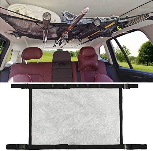 MDSTOP Car Fishing Rod Holder SUV Ceiling Storage Net Interior Car Roof Rack Mesh Storage Rack product image
