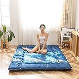 Japanese Floor Futon Mattress, 3D Blue Galaxies Floor Bed, Portable Camping Mattress Guest Mattress Roll Up Mattress Sleeping Pad Guest Mattress, Blue Galaxy Space Themed, Full Size