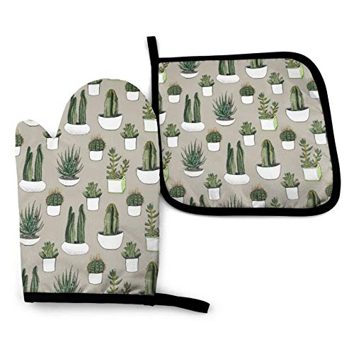 NYF Watercolour Cacti &Amp; Succulents - Beige Kitchen Oven Mitt and Potholders 2 Piece Set, Heat...