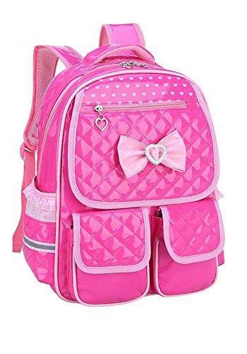 Puretime Girls Cute Pu Leather School Backpack Satchel Travel Bag Princess Style (Rose Pink)