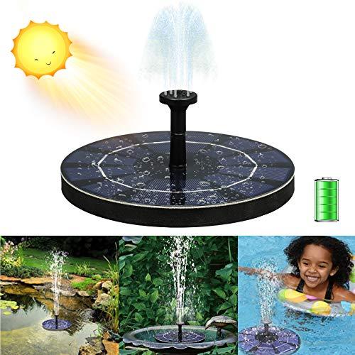 Solar Springbrunnen 2,5 W Teichpumpe Solar mit PET-Laminatmaterial Eingebaute Batterie mit 7 Aufsätzen Solarbrunnen für Außen Garten, Vogelbad, Teich, Pool, Rasen, Terrassendekoration