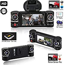 Indigi HD Dash Cam Camera for Cars/Trucks - Wide Angle Dashboard DVR (Front and Rear + Motion Activate + File Protection)