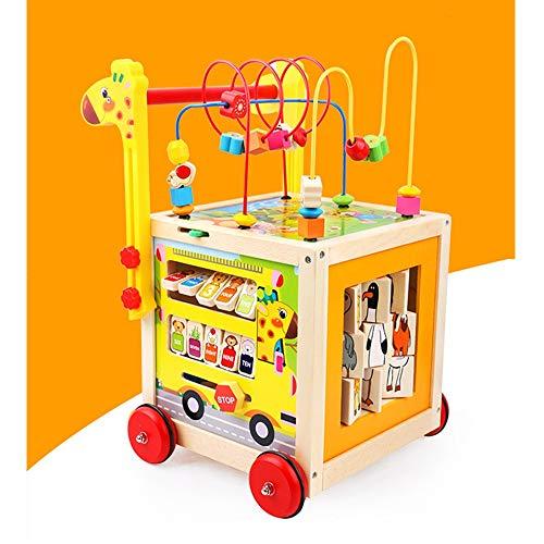 XIONGXIONG Los laberintos de Cuentas Bebés Enseña cognitivos Actividad del bebé Cubo con Gears, Abacus, la Gota Maze, Shape Sorter, Jugar Cube Juguetes educativos de Preescolar Círculo