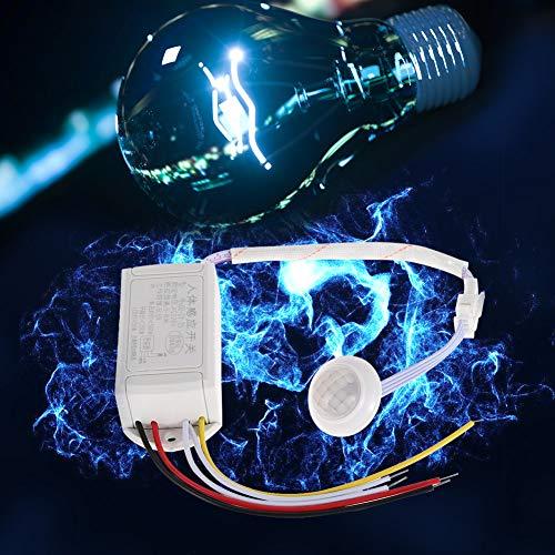 Interruptor sensor de infrarrojos, sensor de presencia 220 V, cuerpo humano abierto, cerrado, detección con plástico ABS (blanco)