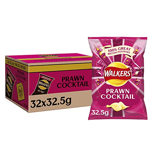 Walkers Prawn Cocktail Crisps Box, 32.5 g, Case of 32
