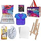 24 Color Pinturas Para Niños, Juego de Manualidades, 39 pcs kit pinceles con paleta pinceles, caballete de lienzo, delantales impermeables para pintar (azul)