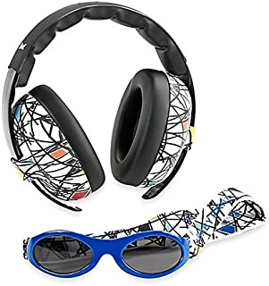 Baby Banz Earmuffs Infant and Toddler Hearing Protection Headphones - Packaged with BANZ Sunglasses Ages 0–2 Years – Ultimate Child Ear and Eye Protection – Stop Noise – Block Sun (Squiggle)